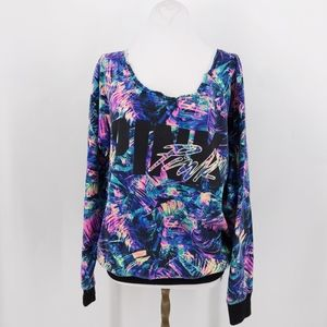 Vs pink wide neck sweater rainbow